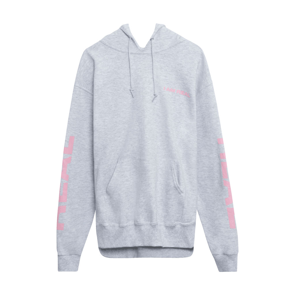 I Am Real Hoodie in Heather Grey