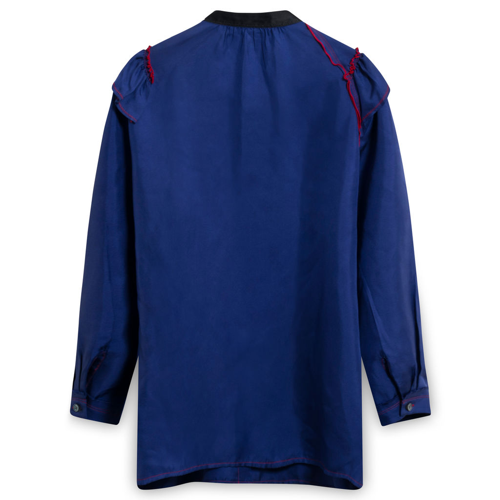 Marc Jacobs Ruffled Silk Crepe de Chine Blouse in Royal Blue