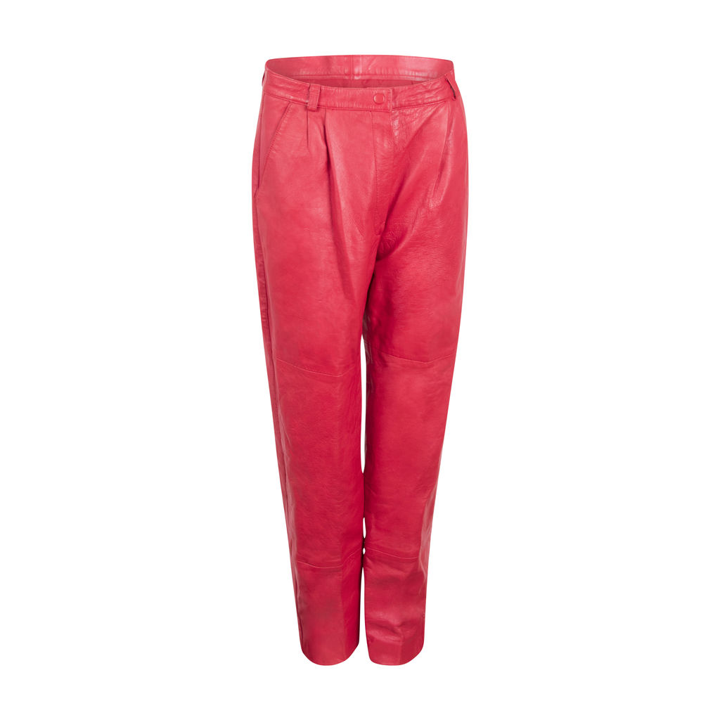Vintage Red Leather Trousers