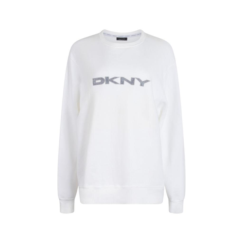 DKNY White Crew Neck Sweatshirt