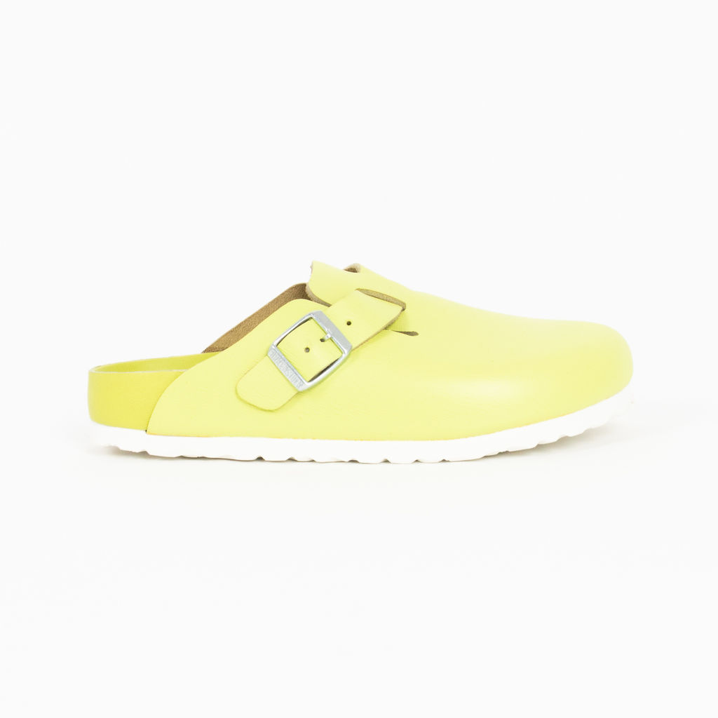 Concepts x Birkenstock Lime Grooved Leather Boston Slides