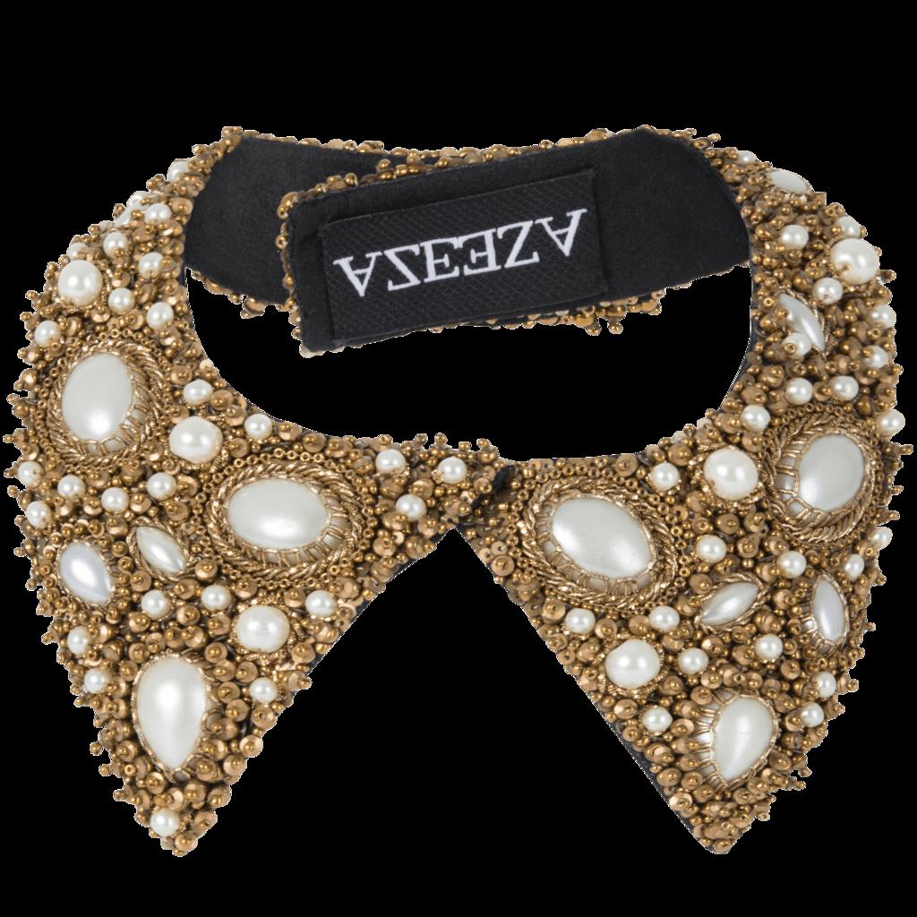 Azeeza Pearl Embellished Shirt Collar