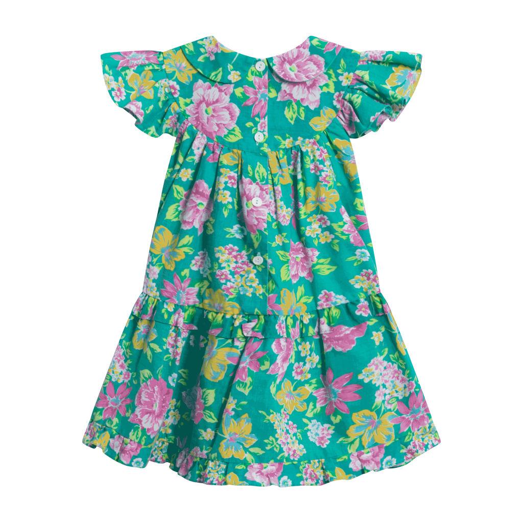 Vintage Floral Dress- Seafoam