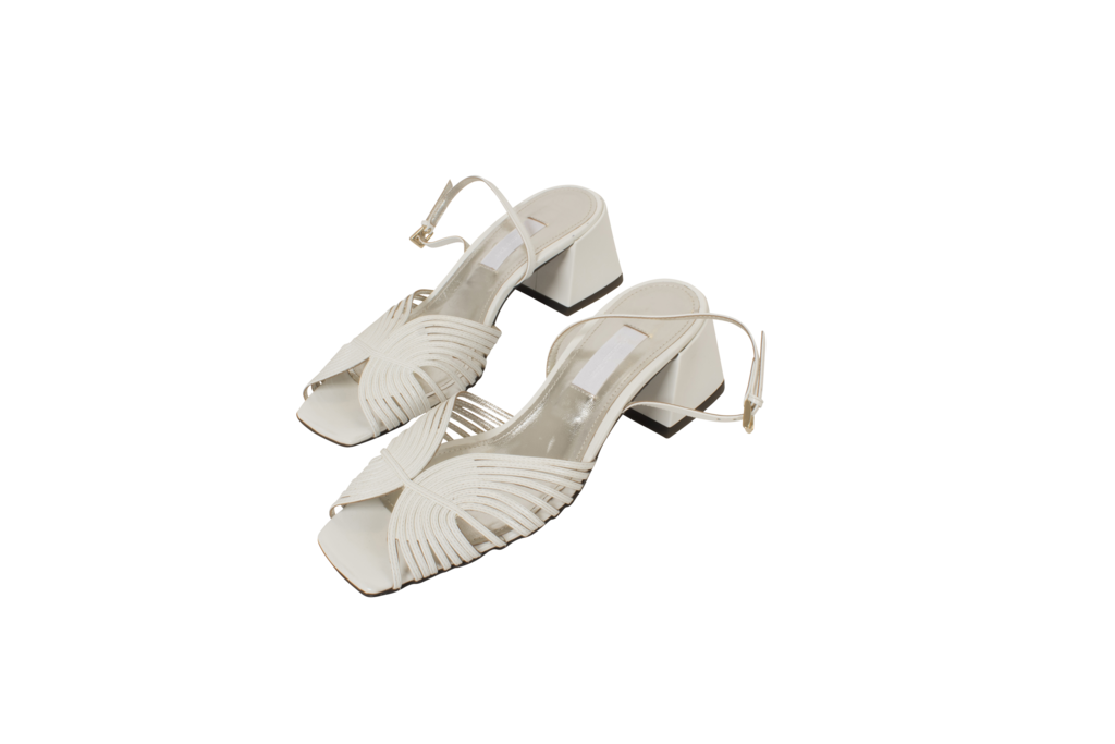 Suzanne Rae 70s White Leather Sandal