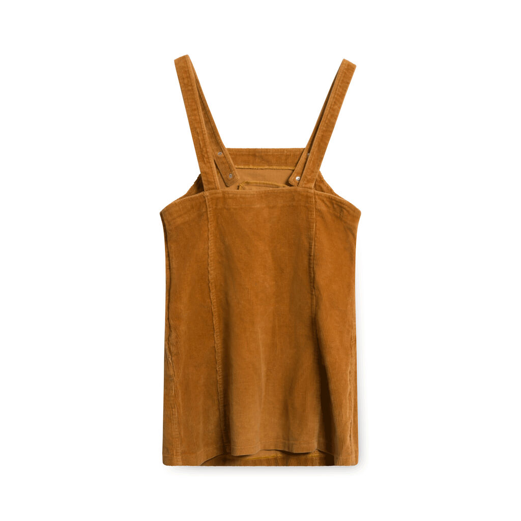 Nowa Fala Corduroy Overall Dress - Rust Orange
