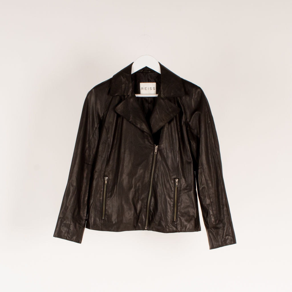 Reiss Fray Leather Biker Jacket