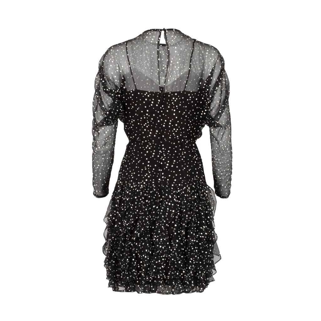 Vintage Polka Dot Waterfall Ruffle Dress