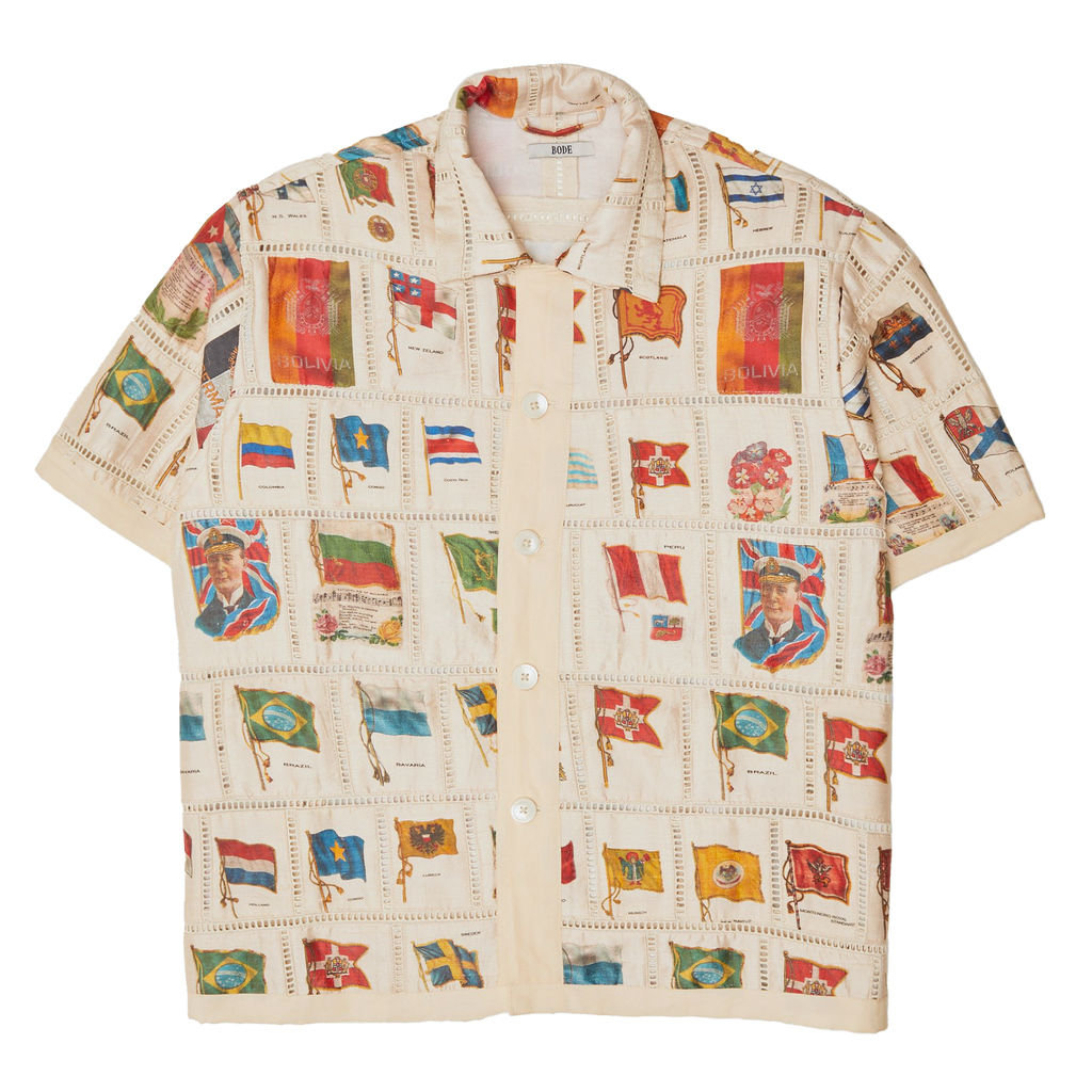 Bode Tobacco Flag Patchwork Shirt