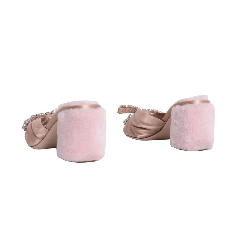 Vintage Miu Miu Nude Heels with Fur Lining