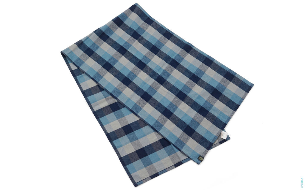Plaid Wool Scarf blue grey