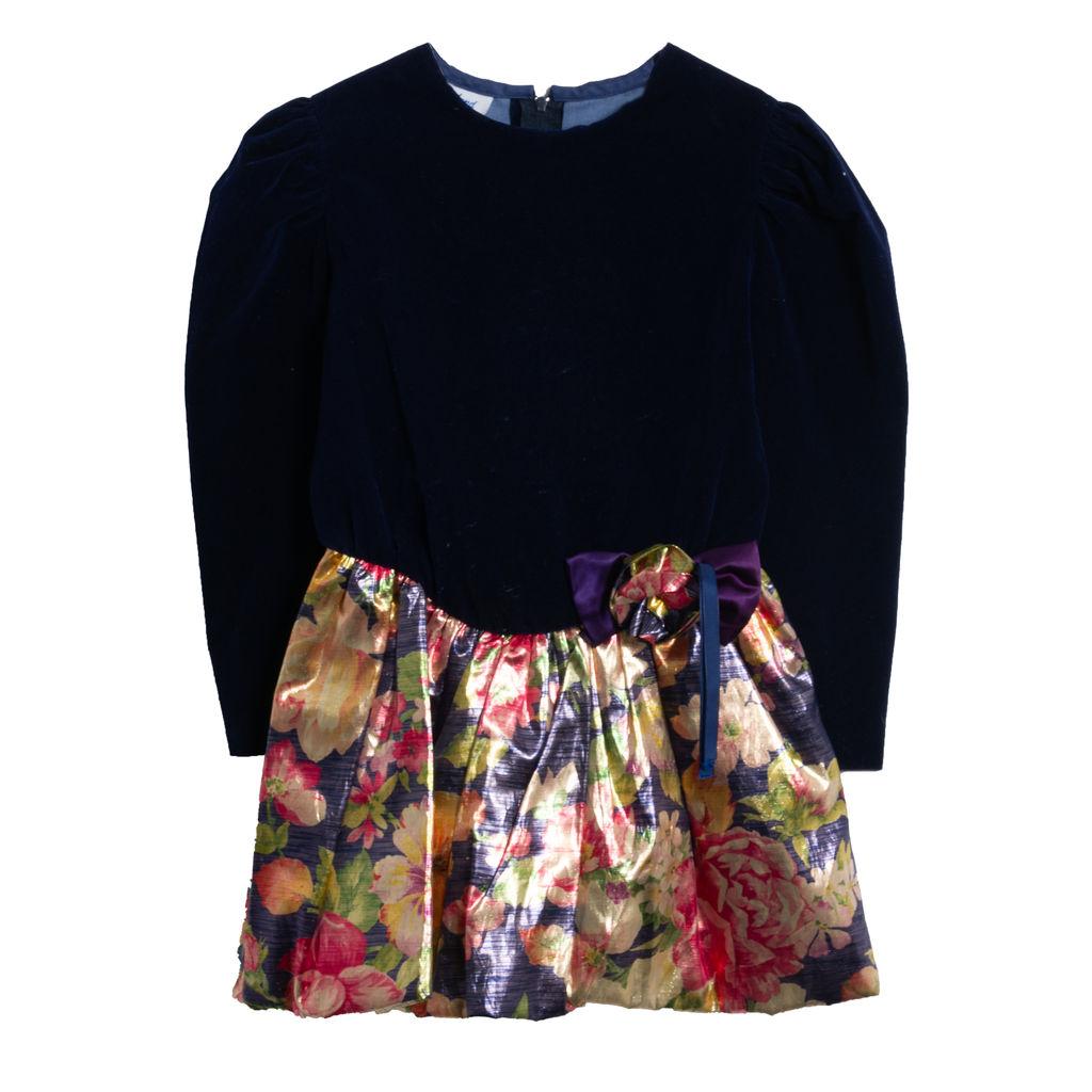 Fashionland Blue Velvet Floral Dress