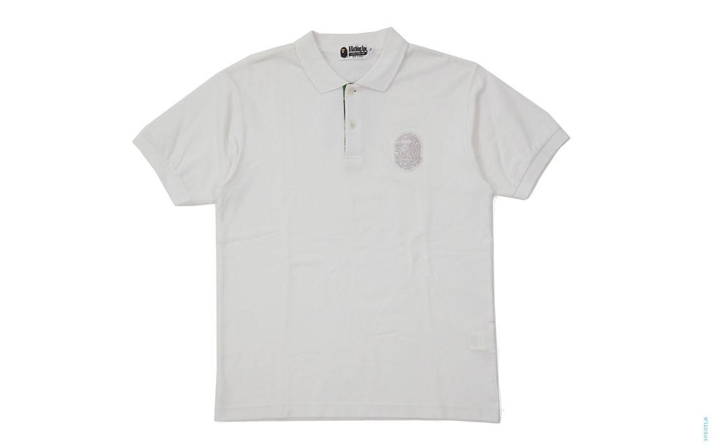BAPE ABC Camo Accent Swaro Rhinestone Apehead Pique Polo Shirt white