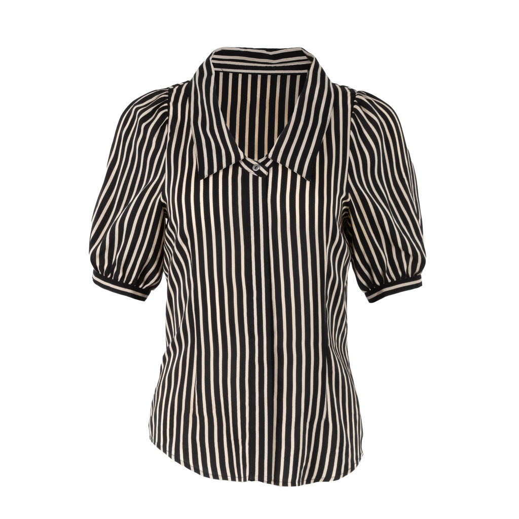 Vintage Striped Puff Sleeve Blouse