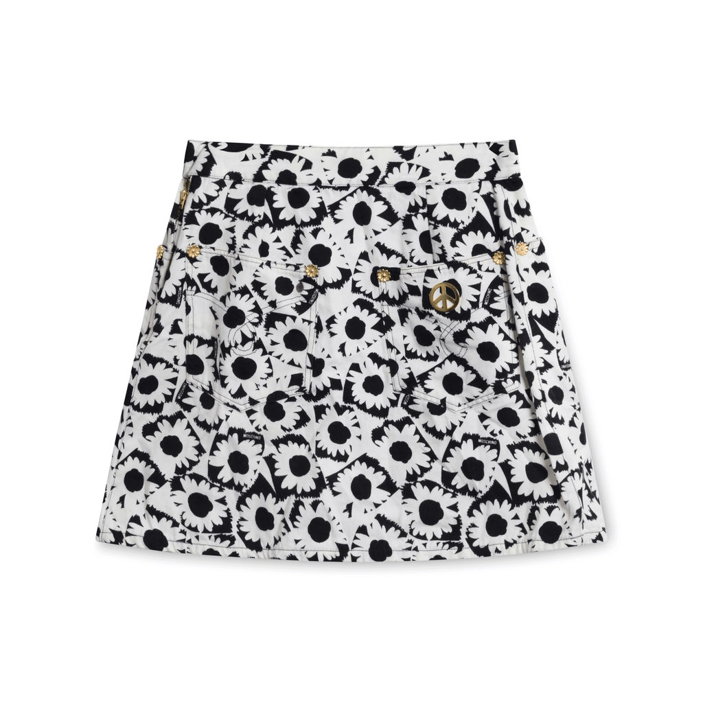 Moschino Pleated Floral Denim Skirt
