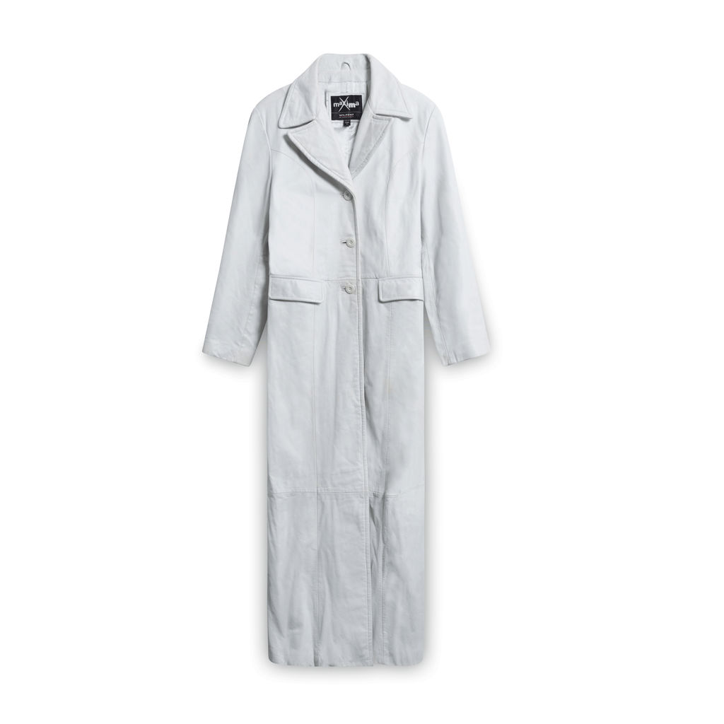Maxima Leather Trench Coat - White
