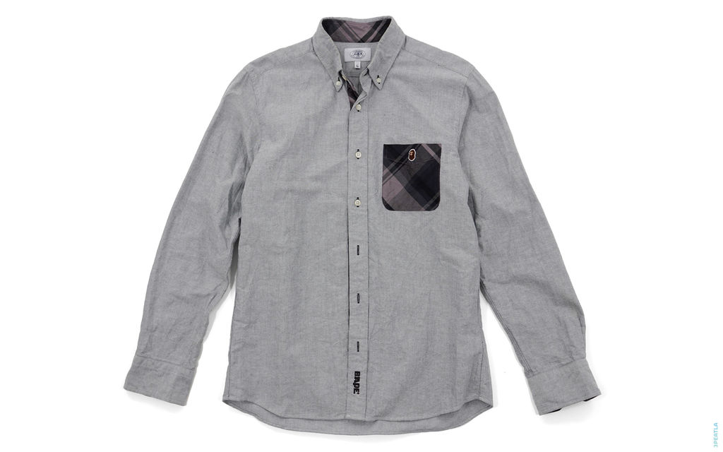 Apehead Plaid Accent Chambray Button-Up Shirt grey