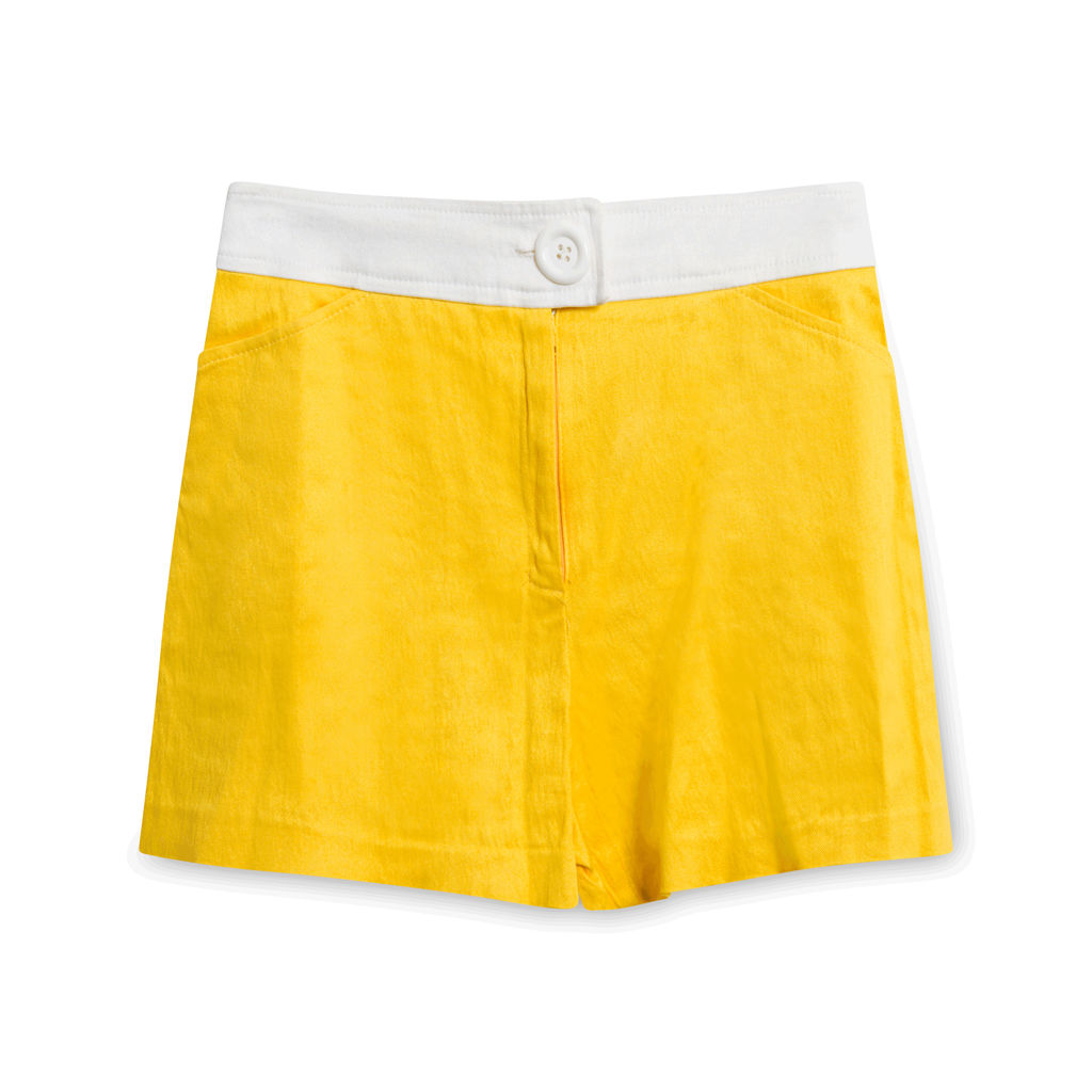 Nouritano By Karess Paris Yellow Collared Top and Short Set