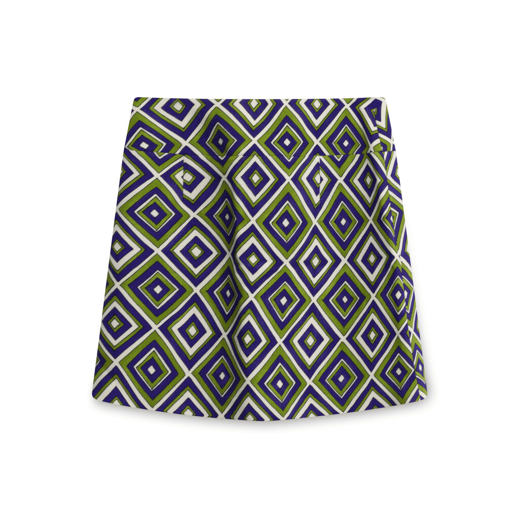 Vintage Prada Diamond Pattern Wrap Skirt - Purple/Green