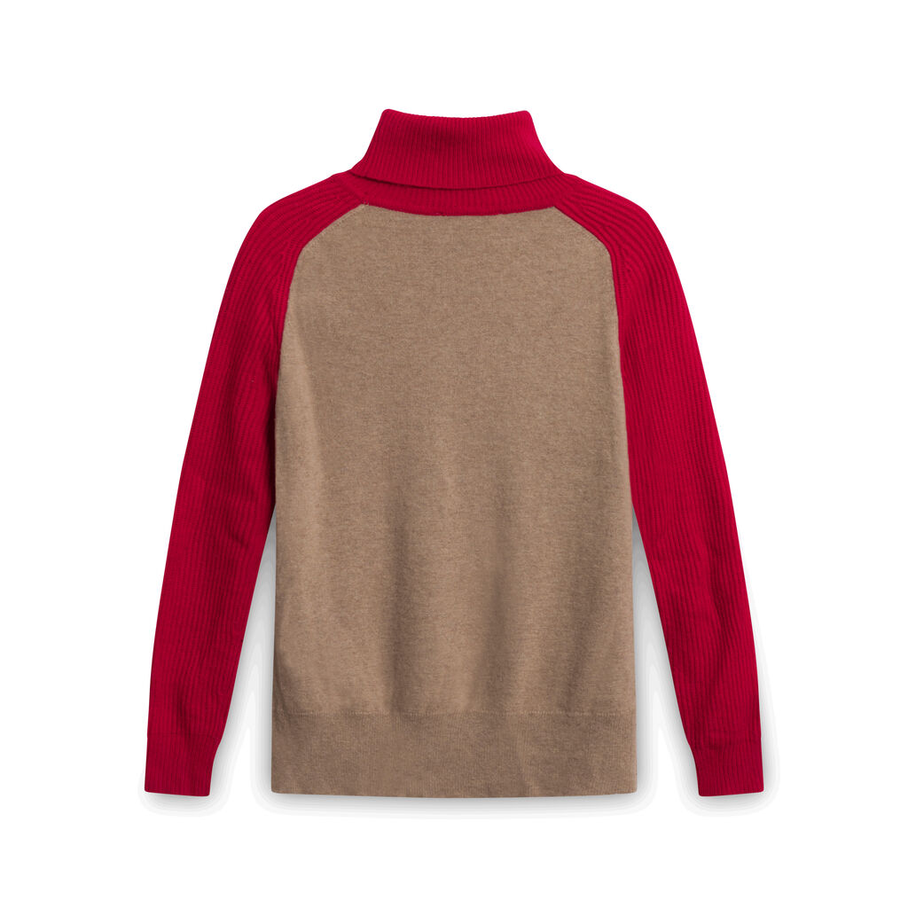Sandro Brown Sweater with Red Sleeves