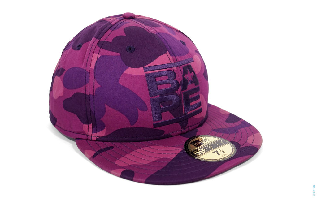 BAPE Color Camo Run Logo Fitted Baseball Cap