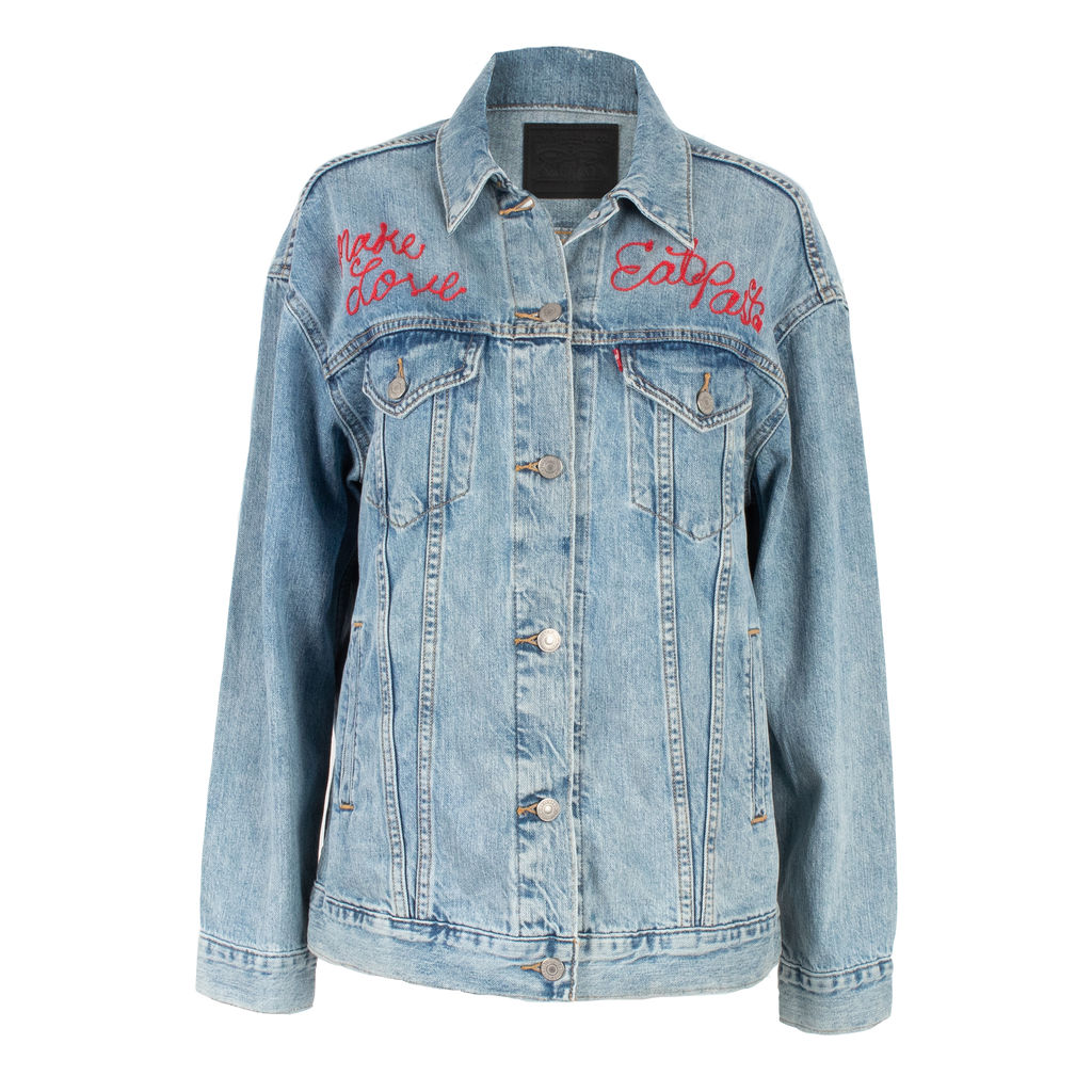 "Levi's ""Make Love, Eat Pasta"" Embroidered Trucker Jacket"