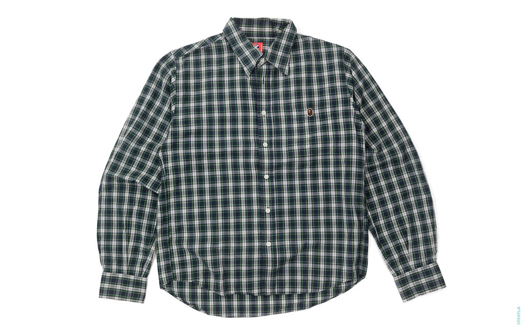BAPE Apehead Pocket Plaid Button-Up Shirt green