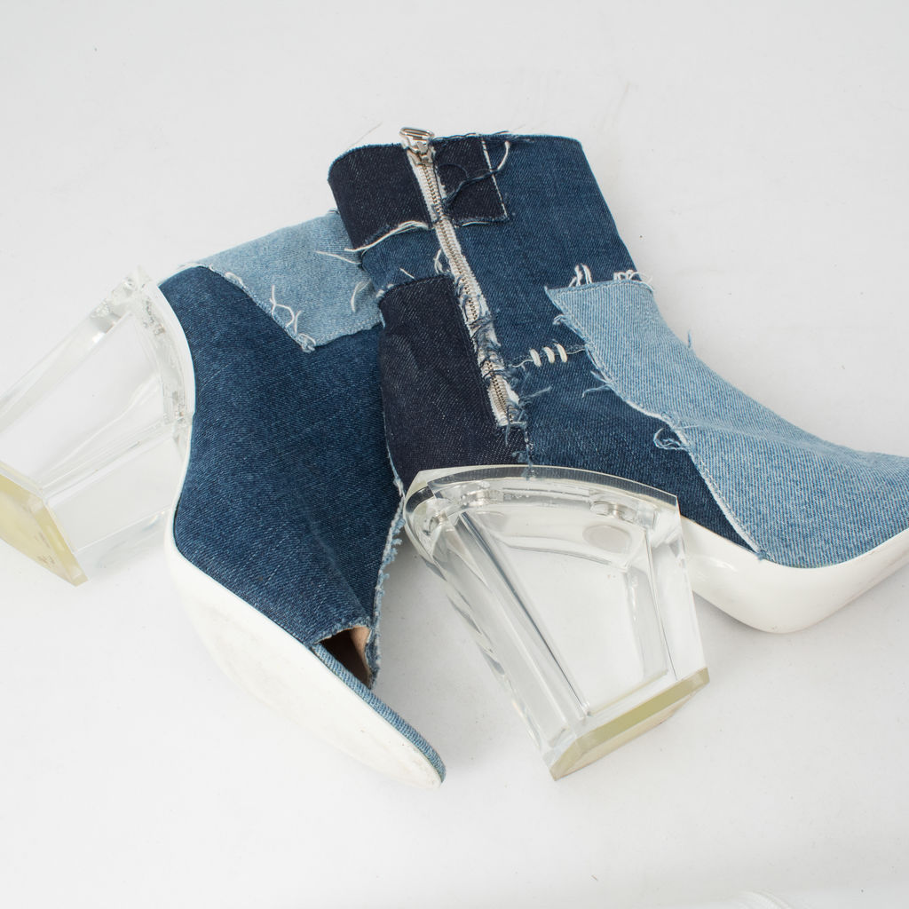 Off-White c/o Virgil Abloh Blue Denim Patchwork Boot curated by Melina Matsoukas