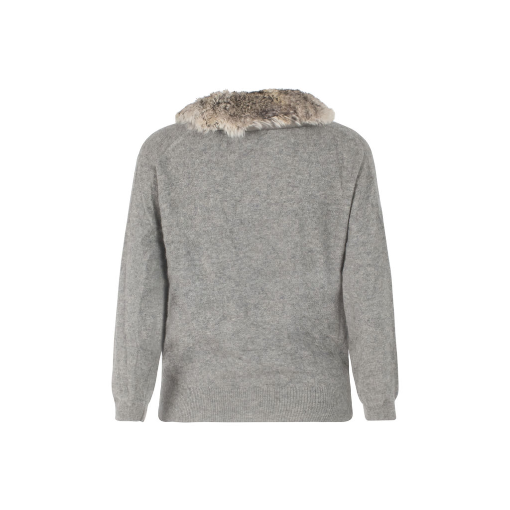 Fur Collar Cashmere Sweater