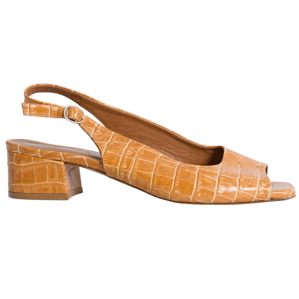 By Far Croc Embossed Leather Mules - Tan