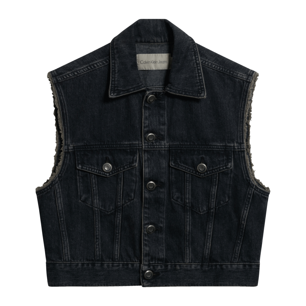 Calvin Klein Jeans Crop Denim Vest in Charcoal