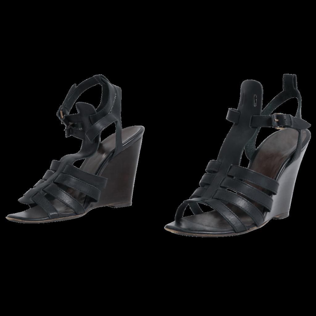Balenciaga Black Leather Ankle Strap Wedge