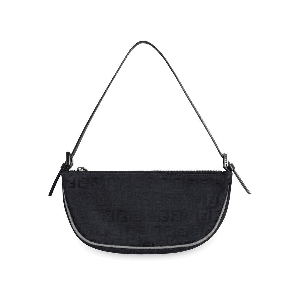 Fendi Baguette Cloth Handbag - Black