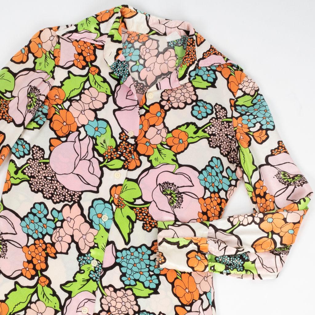 Vintage 1970's Style Pastel Floral Blouse