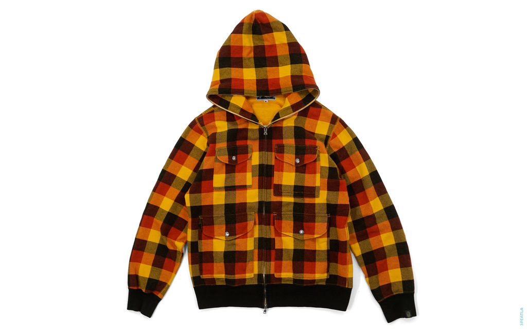 4 Pocket Plaid Full Zip Hoodie black orange