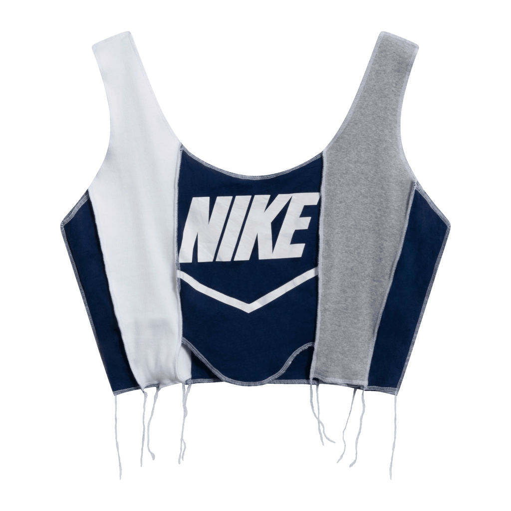 JJVintage Reworked Nike Tank in White/Blue/Grey