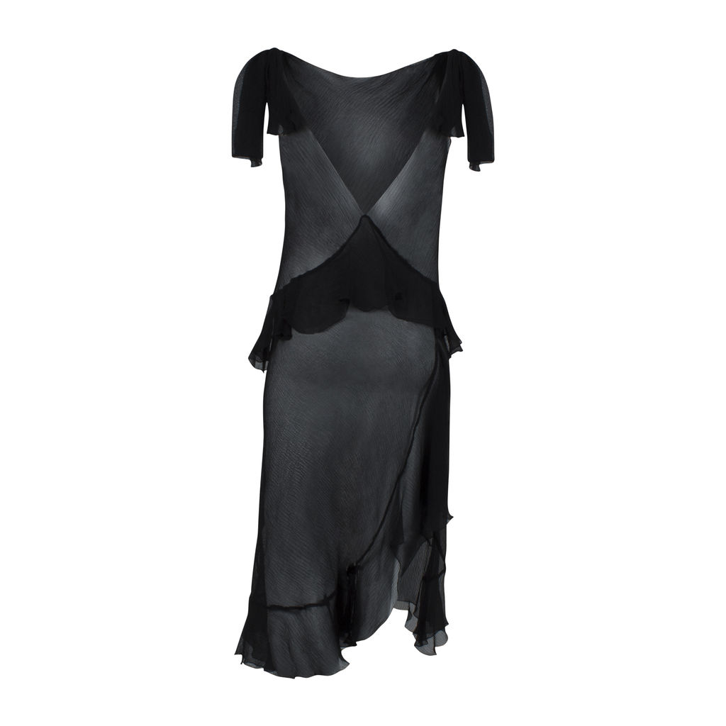 Sheer Ruffled Slip Dress