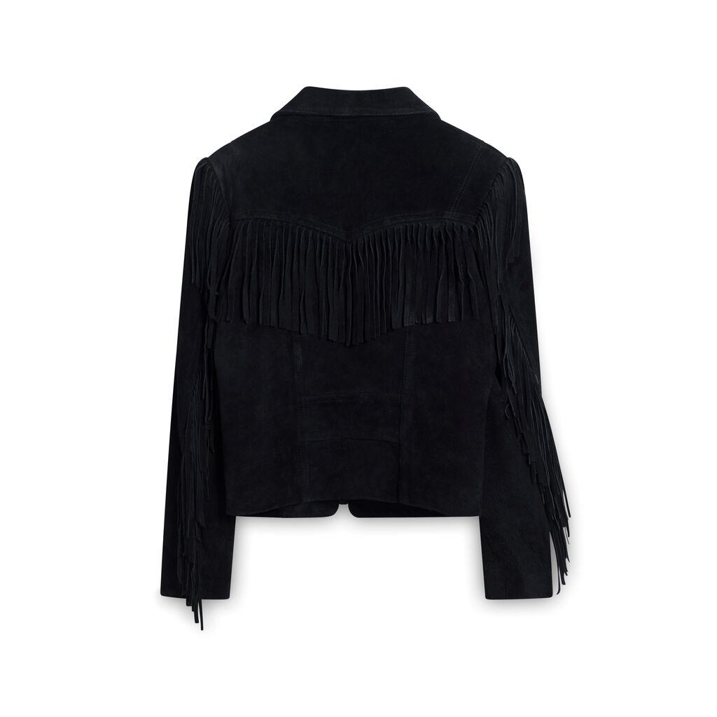 Wilsons Suede Fringe Jacket - Black