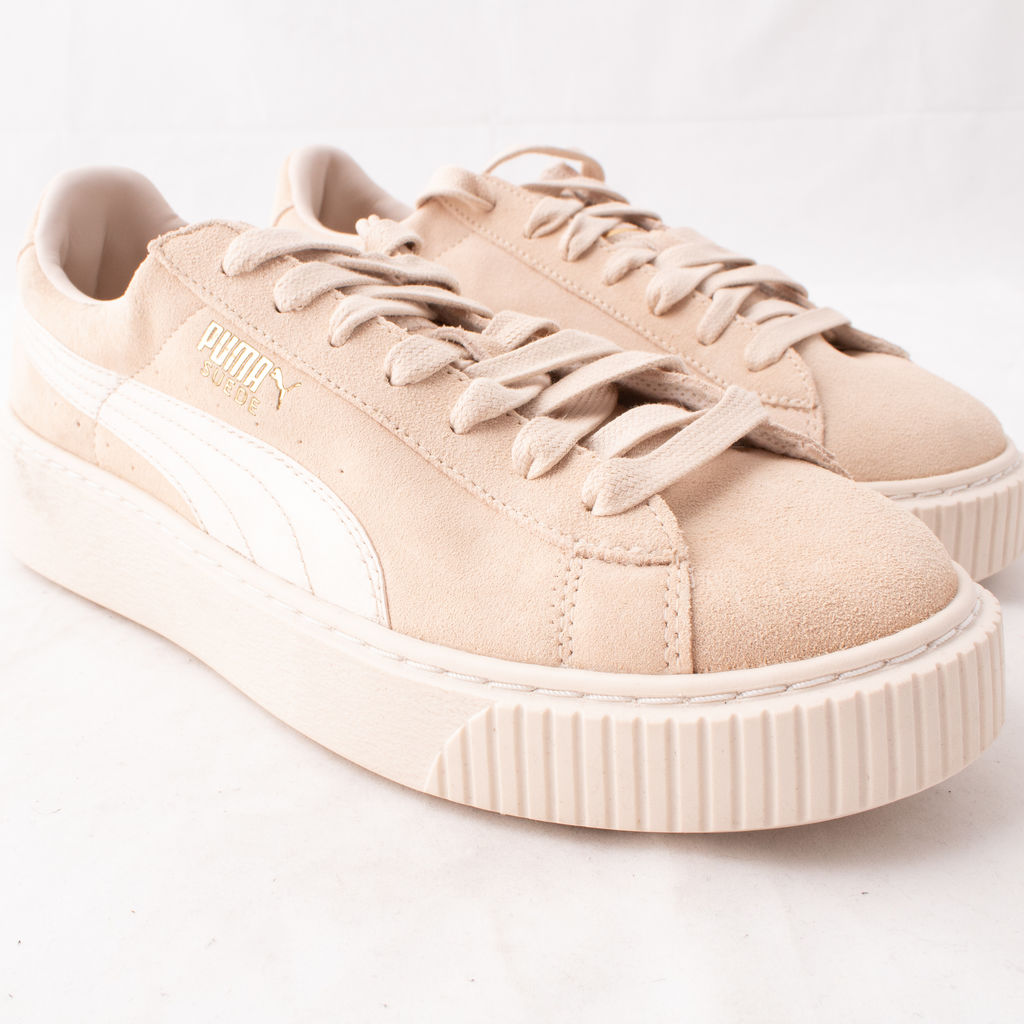 puma suede satin platform sneakers in beige