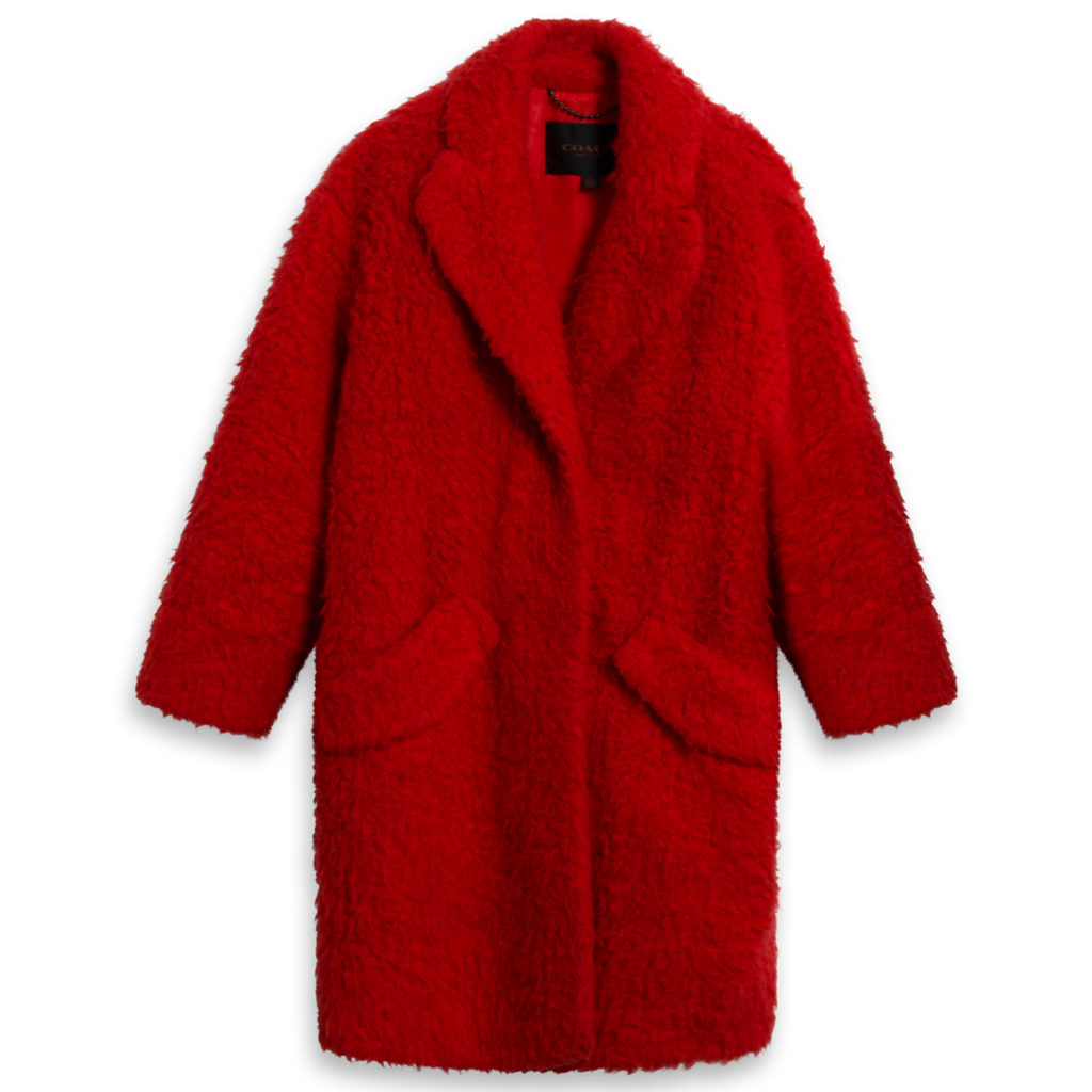 Coach Cherry Red Shearling Coat