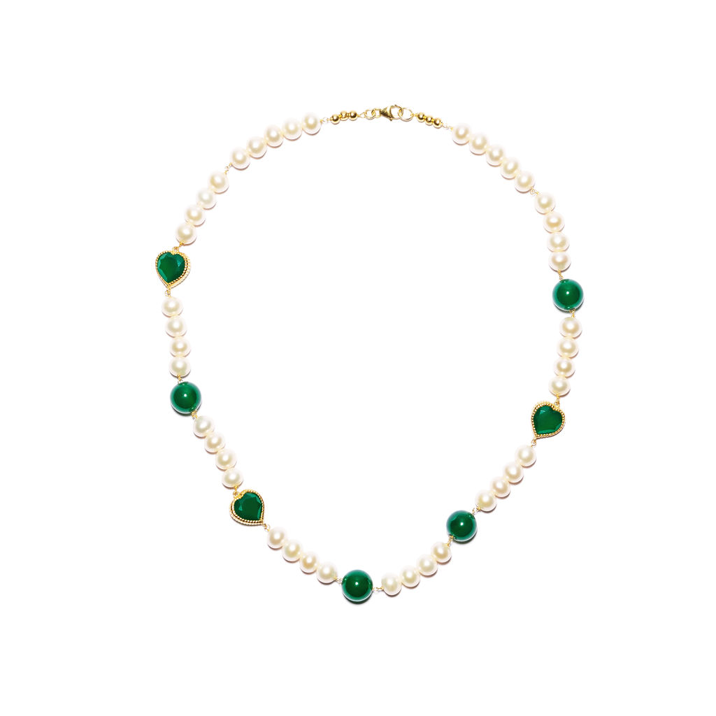 Green Onyx Freshwater Pearl Necklace - 18k gold plated 925 sterling silver