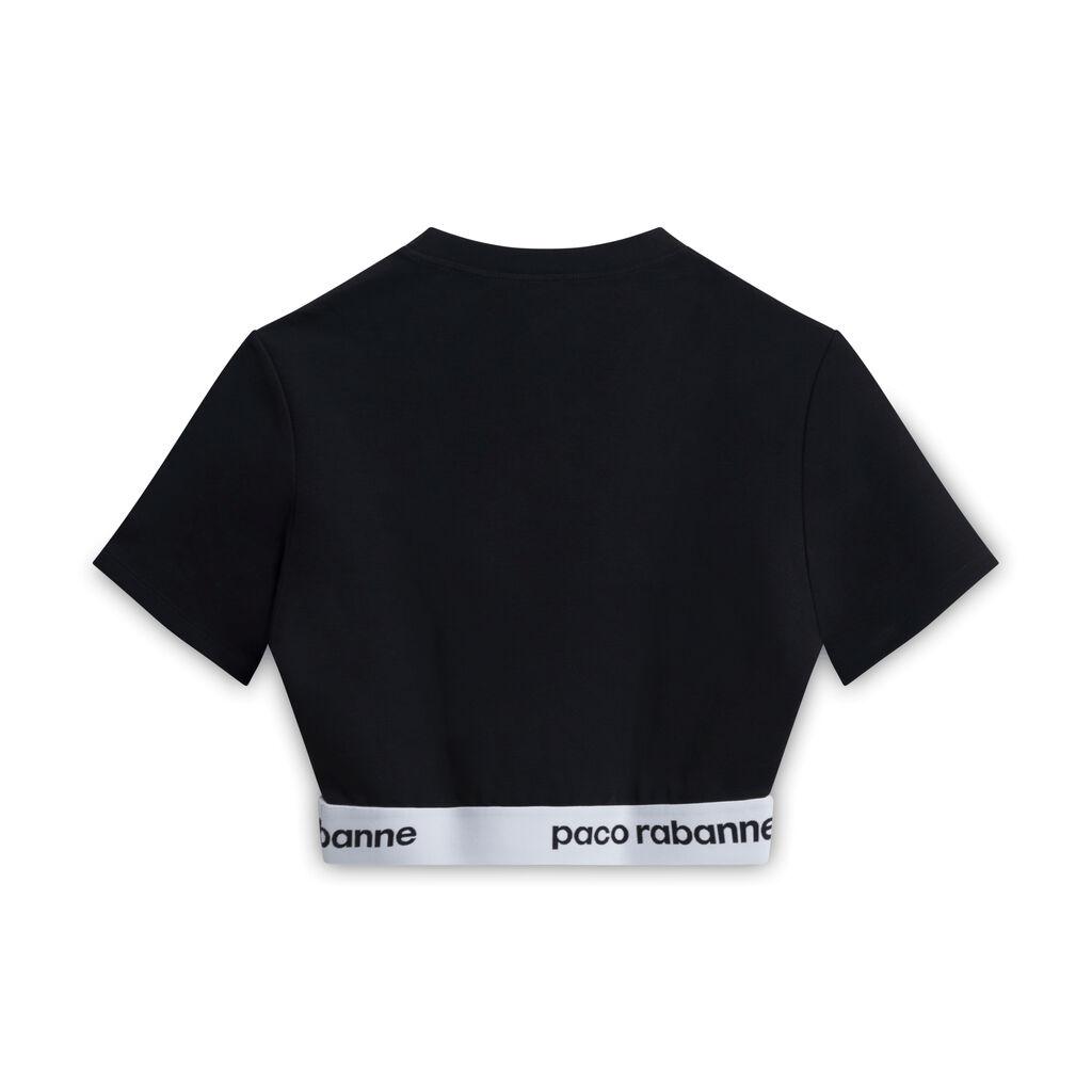 Paco Rabanne Sheathing Logo Crop Top - Black