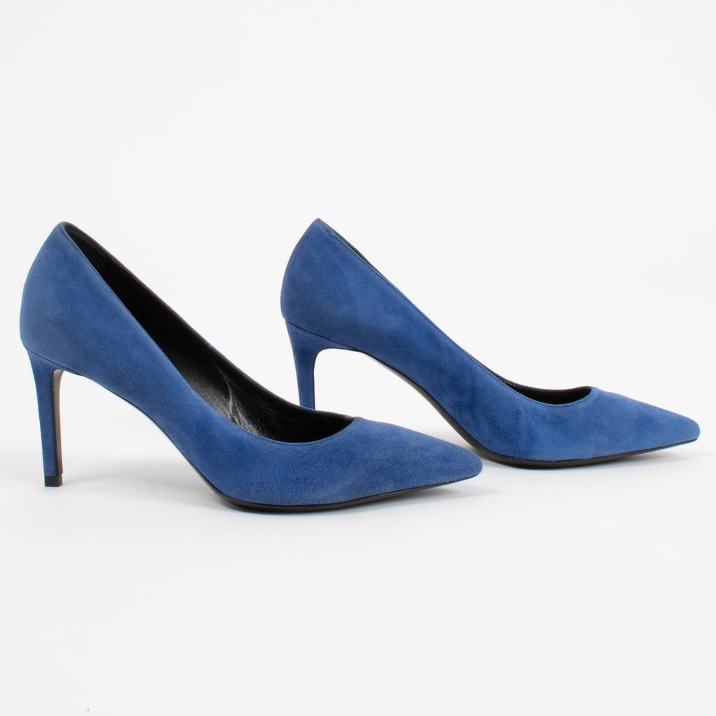 Saint Laurent Blue Suede Clara Pointed Toe Pumps