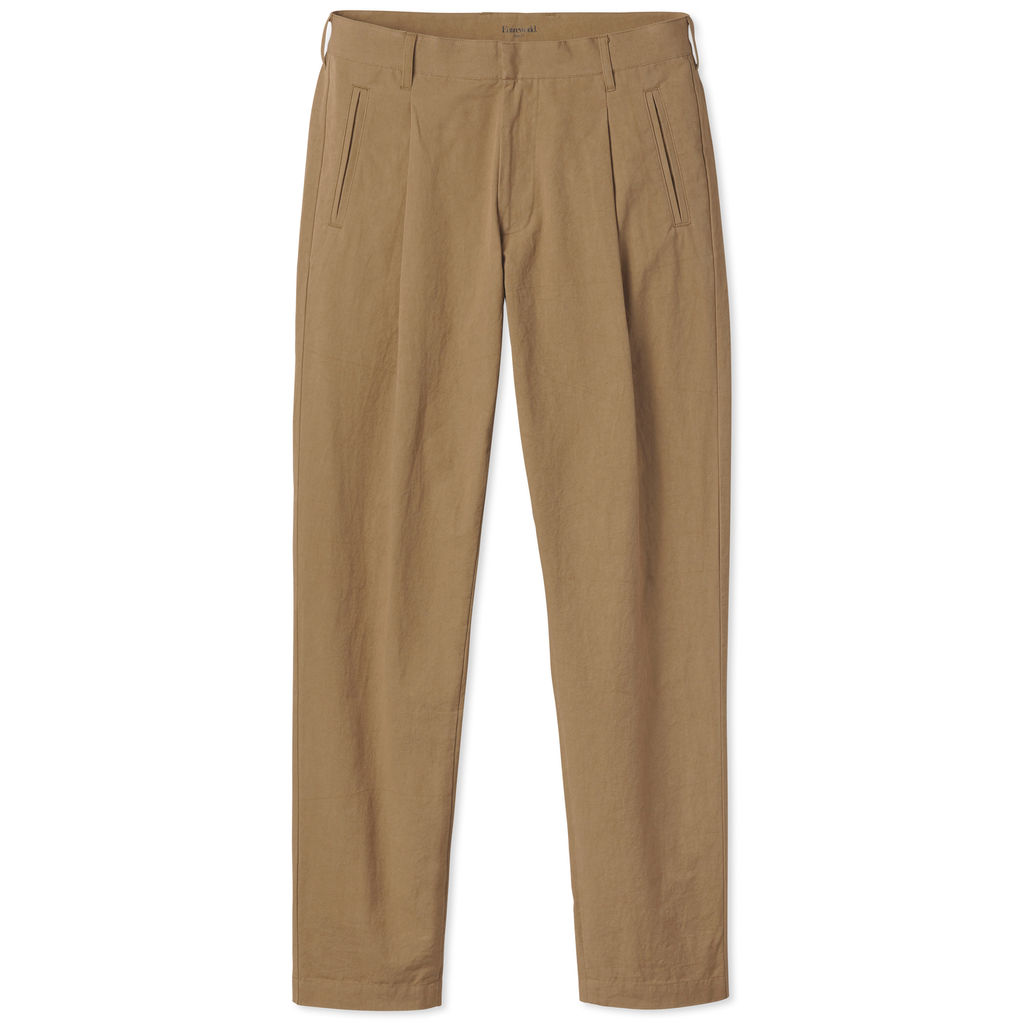 Entireworld Cotton Pleated Trouser - Ochre