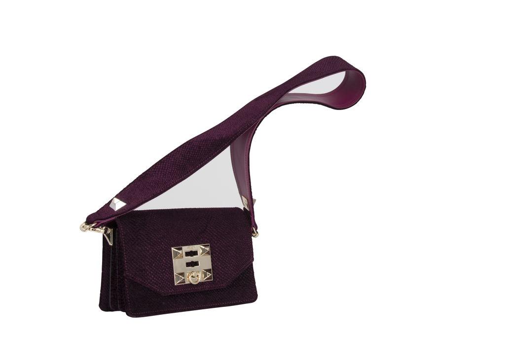 Salar Kio Embossed Velvet Bag- Plum
