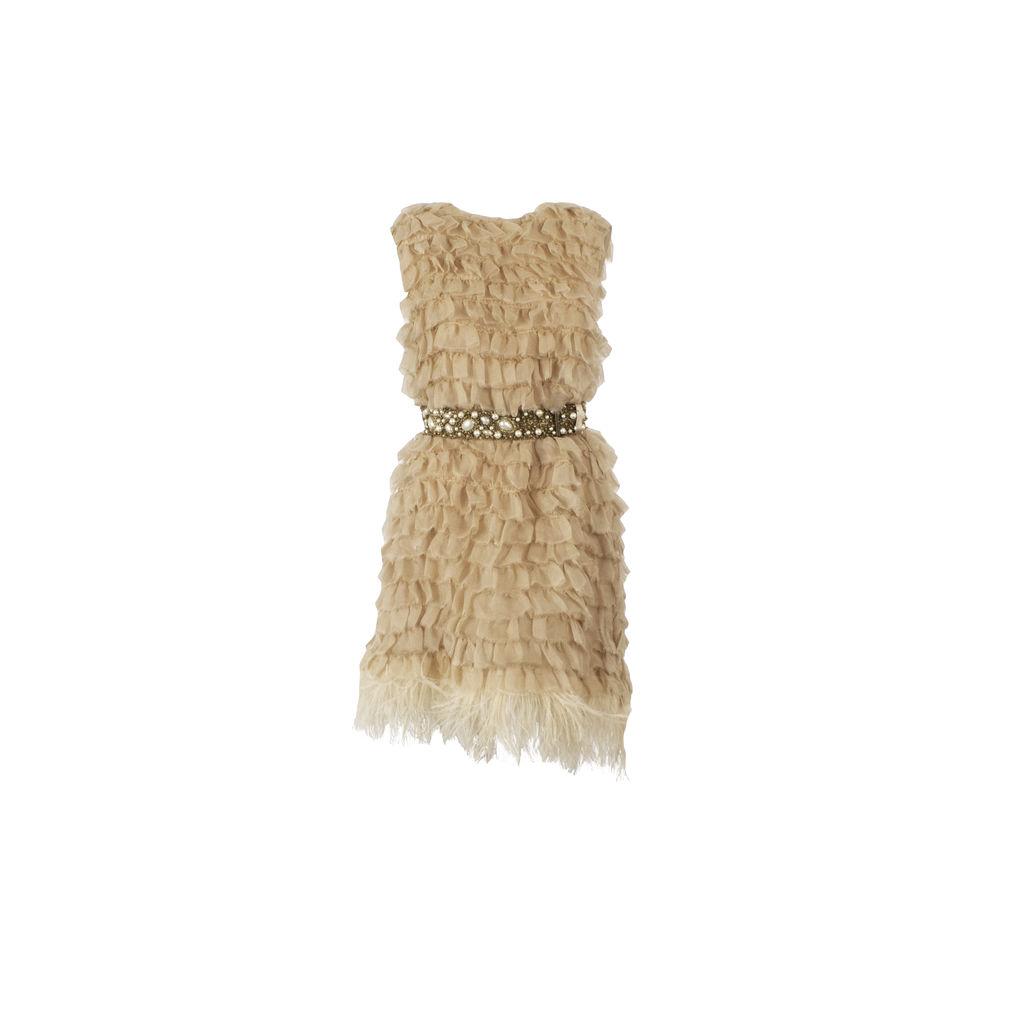 Azeeza Tiered Ruffle Mini Dress With Embellished Belt