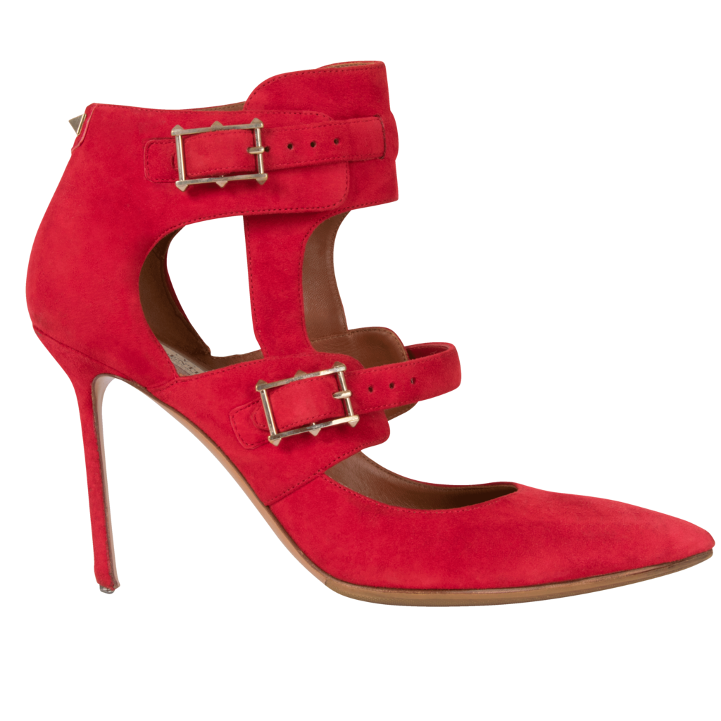 Valentino Buckle Point-Toe Stiletto Heel