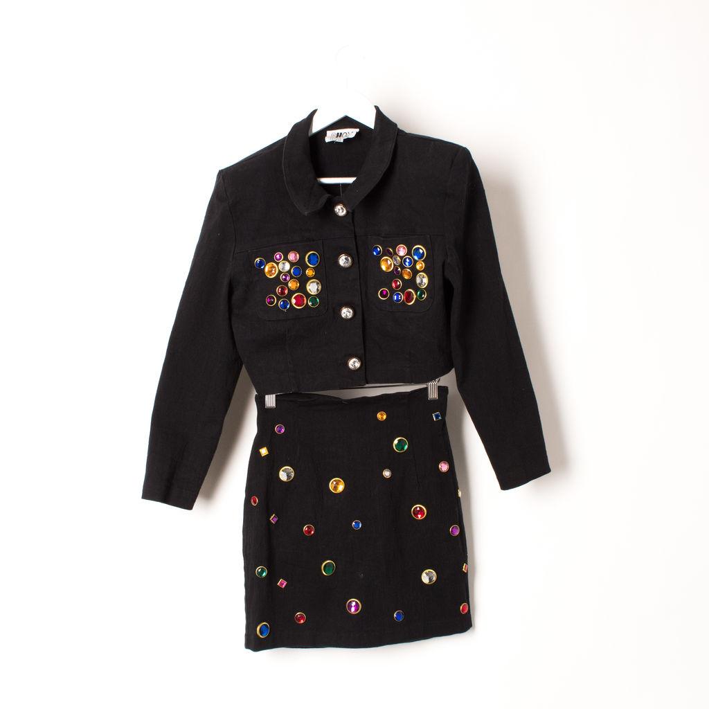 Vintage Bejeweled Cropped Jacket and Skirt Set