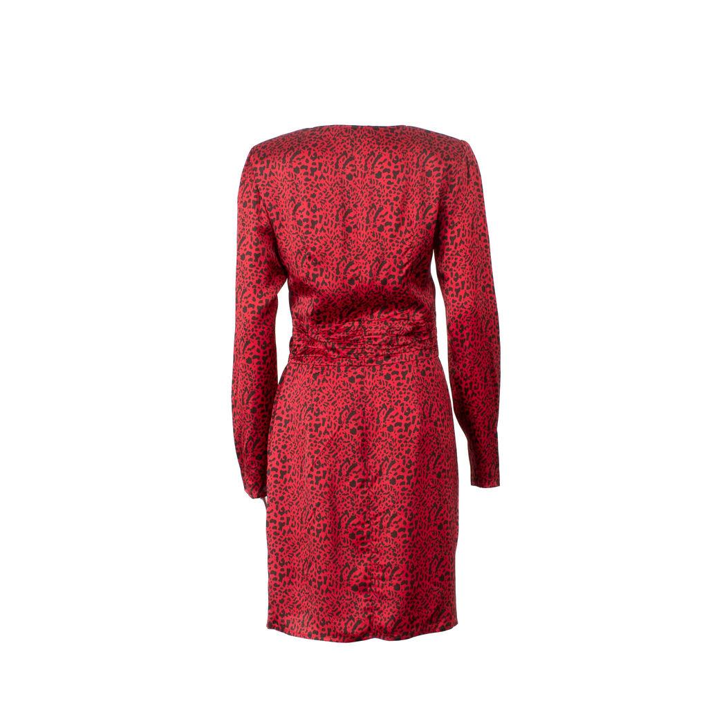 Musier Paris Gabi Padded Shoulder Midi Dress in Red Leopard