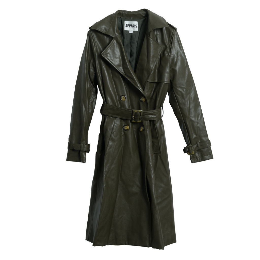 Apparis Lucia Trench Coat- Hunter Green