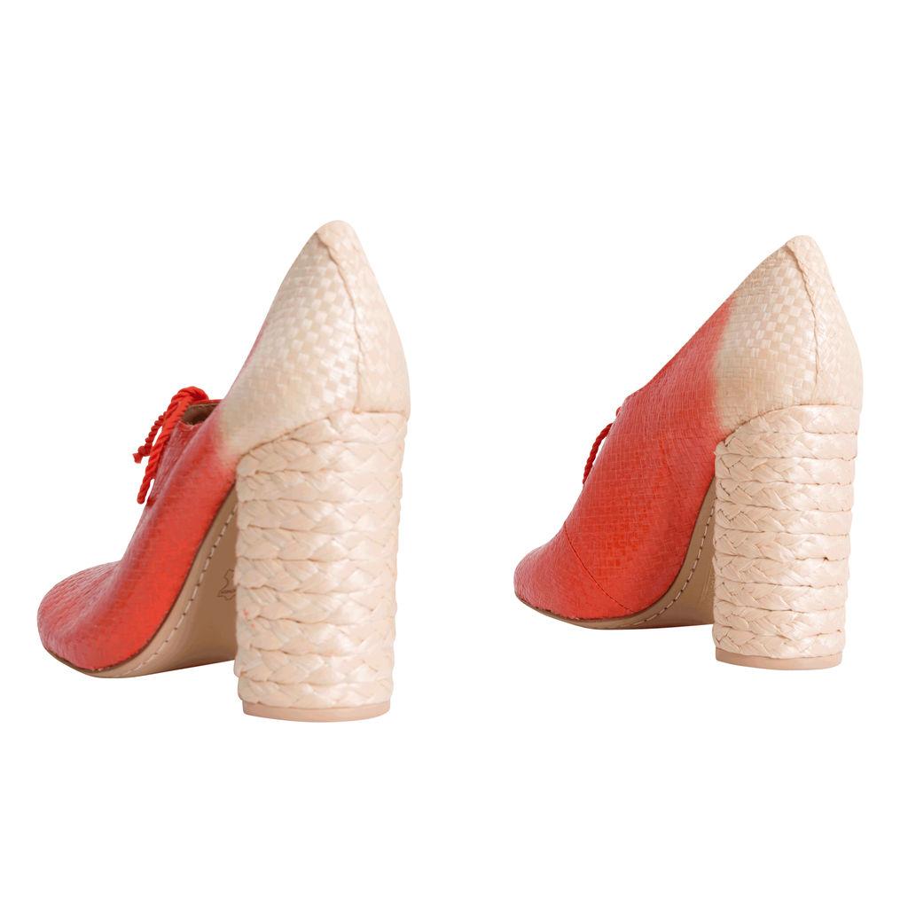 Vintage Tory Burch Woven Lace-up Heels - Orange/Tan